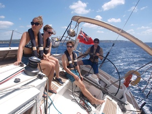 Jordan and crew on Skylark in Menorca during the 2016 Summer Programme