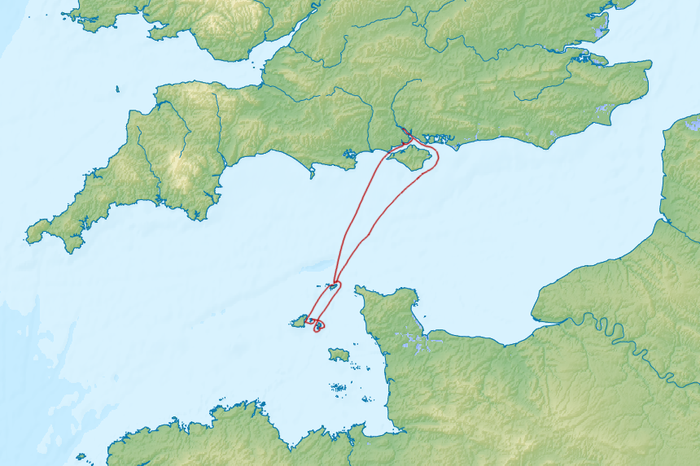 Our route from Southampton to Alderney, Guernsey, Herm, Sark, Alderney, Beaulieu, and back to Southampton
