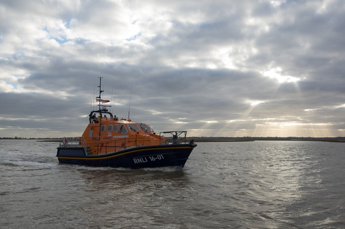 RNLI Lifeboat passing us coming out of Walton Backwaters